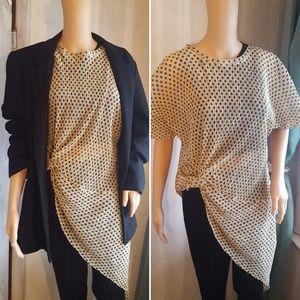 🆕️ Zara Sheer Gold & Black Polka Dot Tunic Blouse